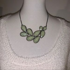 Green and Bronze Flat Bead Necklace
